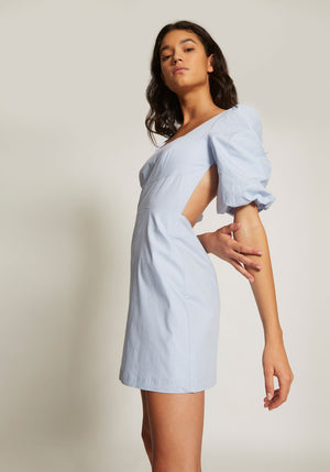 Odette Cotton Poplin Mini Dress Sky Blue