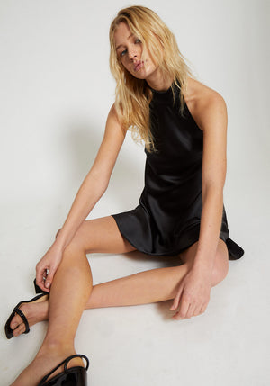 The Wilshire Halter Mini Dress Black