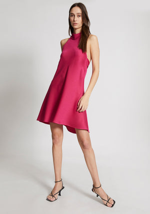 Wilshire Halter Mini Dress Fuscia