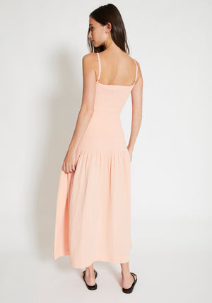 Venice Shirred Midi Dress Pale Peach