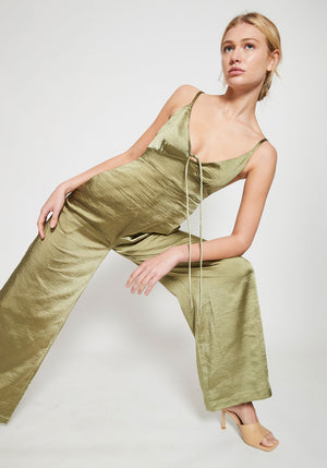 Amelie Spaghetti Strap Jumpsuit Olive
