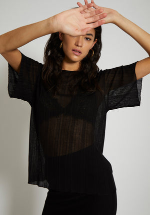 Antibes Irregular Rib Knit Loose Tee Black