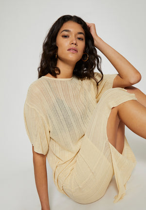 Antibes Irregular Rib Knit Loose Tee Butter