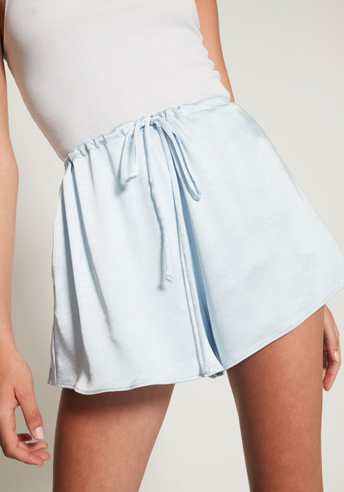 Aperitif Drawstring Satin Short Sky Blue