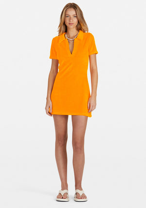 Banning Terry Polo Dress Orange