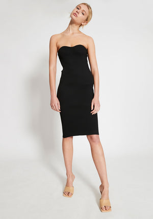 Bardot Rib Knit Strapless Dress Black