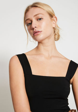 Bastille Square Neck Jersey Crop Tank Black