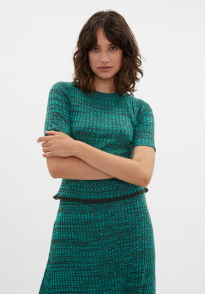 Belluci Rib Knit Top Sea Melange