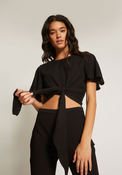 Bind Draped Sleeve Top Black - Tuchuzy