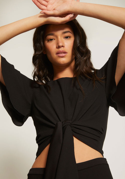 Bind Draped Sleeve Top Black - Chosen By Tuchuzy - Tuchuzy