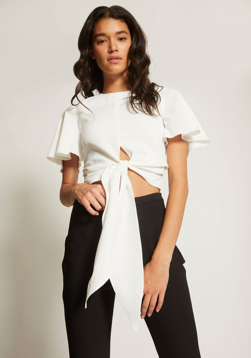 Bind Draped Sleeve Top White