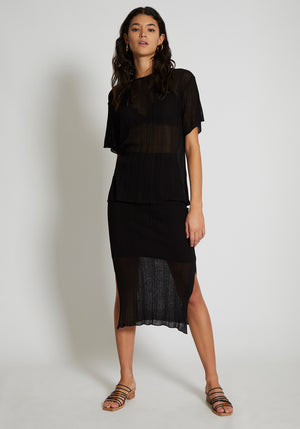Cannes Irregular Rib Knit Skirt Black