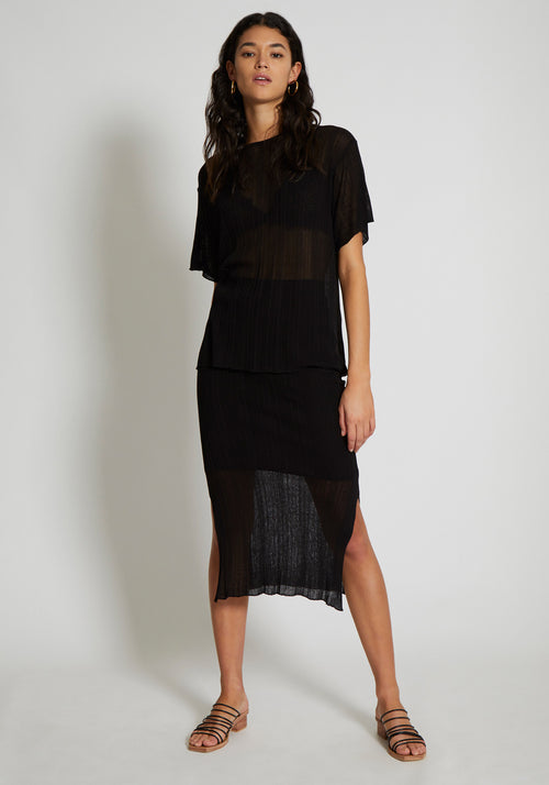 CANNES IRREGULAR RIB KNIT SKIRT