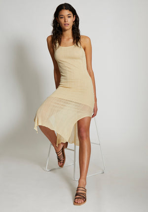 Cassis Irregular Rib Scoop Neck Dress Butter