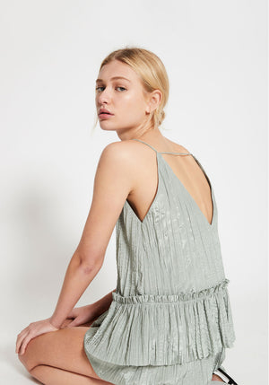 Chemise Deep V Gathered Crop Sage