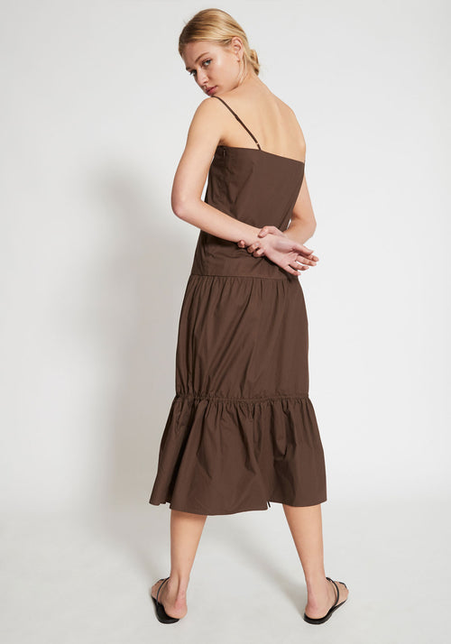 Citadelle Tiered Maxi Dress Chocolate