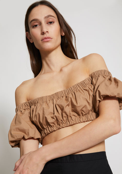 Cloud Gathered Cropped Top Chocolate