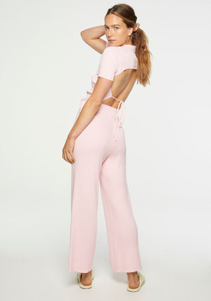 Dua Backless Polo Top Pink