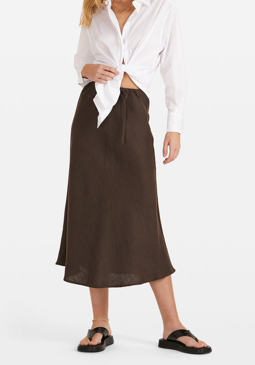Ellie Midi Skirt Chocolate