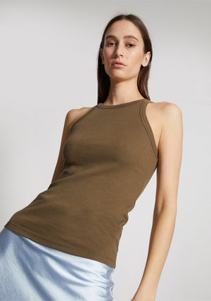 Girlfriend High Neck Singlet Khaki