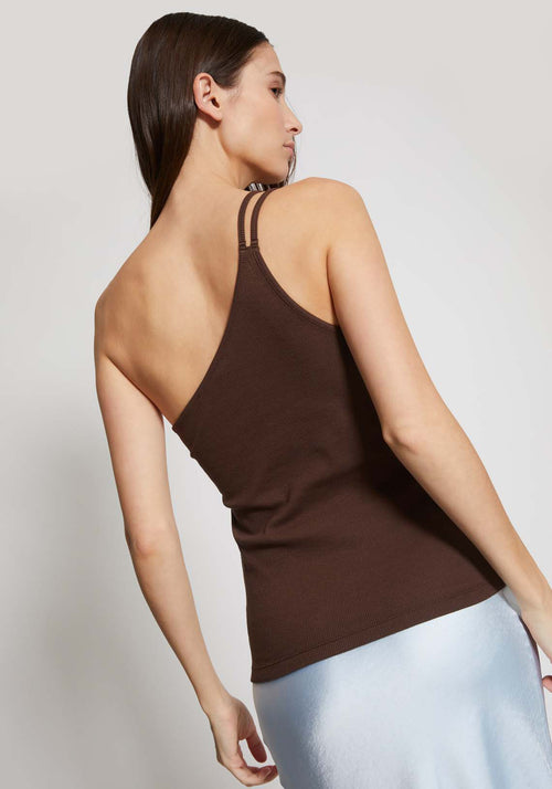 Iris One Sided Ribbed Singlet Dark Chocolate