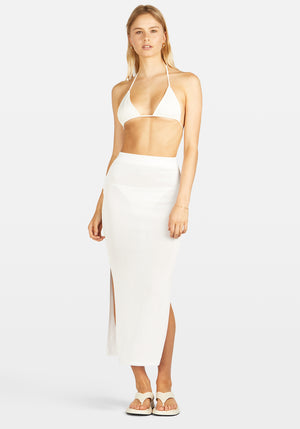Kendal Knit Maxi Skirt White