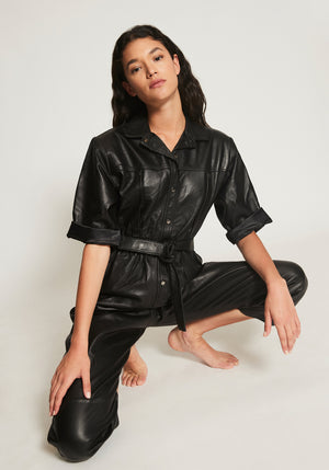 LEAH LEATHER JUMPSUIT