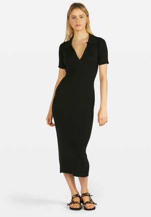 Lipa Backless Polo Midi Dress Black