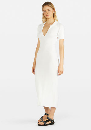 Lipa Backless Polo Midi Dress Ivory