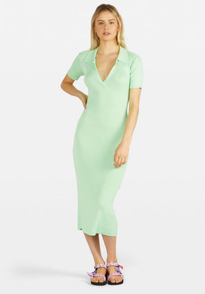 Lipa Backless Polo Midi Dress Mint