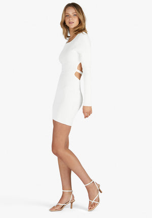Long Sleeve Sideshow Dress White