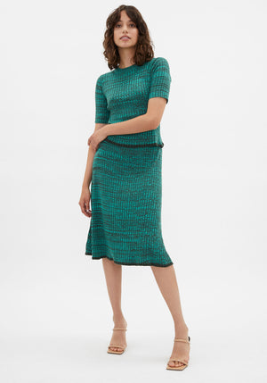 Loren Rib Knit Skirt Sea Melange