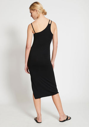 Lourdes One Shoulder Jersey Dress Black