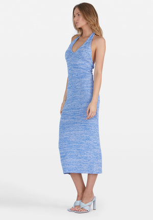 Maci Halter Knit Midi Dress Mottled Blue