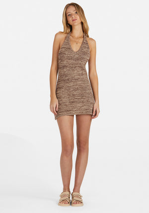 Maci Knit Halter Mottled Chocolate
