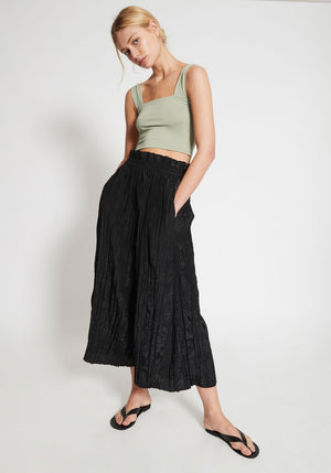 Marais Gathered Crinkle Pants Black