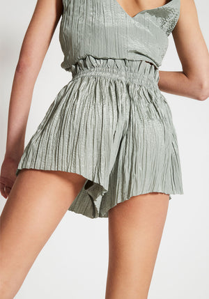Margaux Gathered Crinkle Shorts Sage
