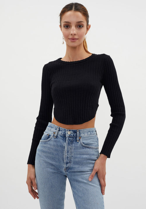 Mastermind Ribbed Long Sleeve Top Black