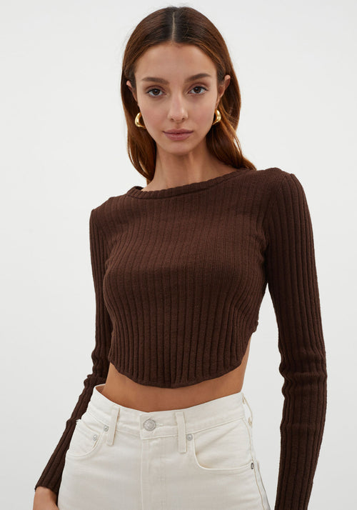 Mastermind Ribbed Long Sleeve Top Chocolate