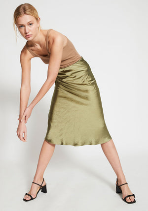 Milena Wash Look Bias Midi Skirt