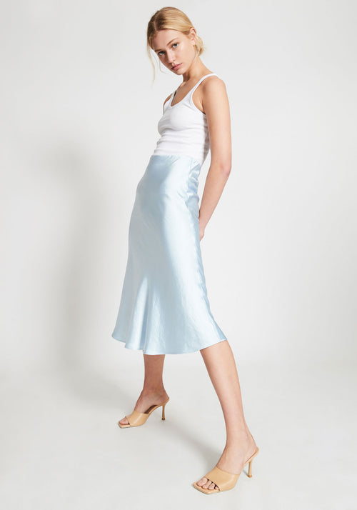 Milena Wash Look Bias Midi  Skirt Sky Blue