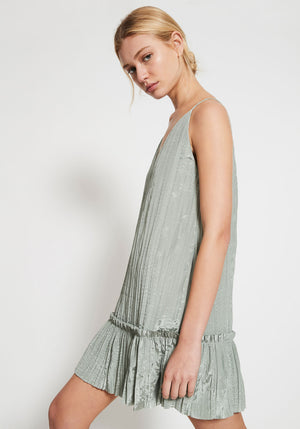 Mimosa Deep V Ruffle Dress Sage