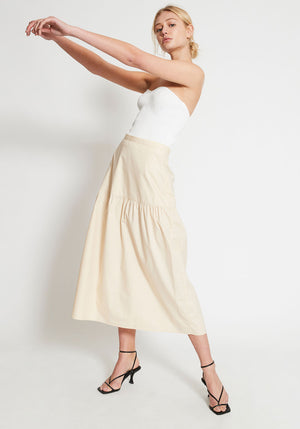Parasol Gathered Skirt Creme