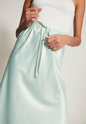 Provence Drawstring Skirt Mint Gingham