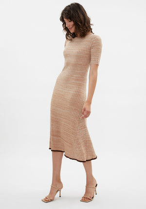 Florence Rib Half Sleeve Midi Dress Biscuit Melange