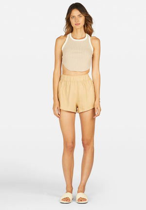Ringleader Racer Back Rib Top Beige With Ivory