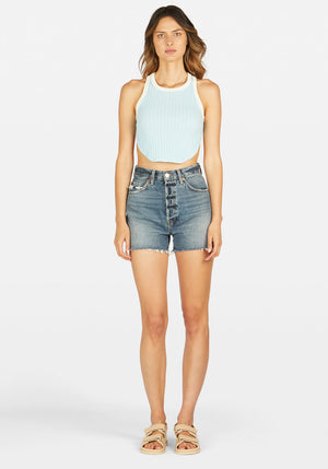 Ringleader Racer Back Rib Top Light Blue With Ivory