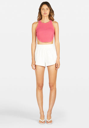 Ringleader Racer Back Rib Top Hot Pink