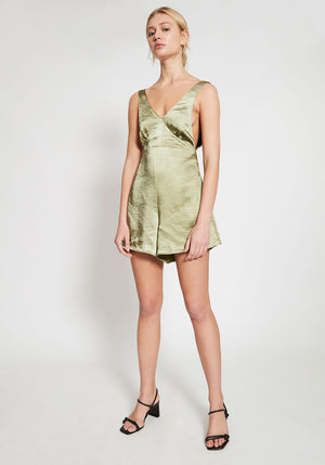 Riviera Deep V Playsuit Olive