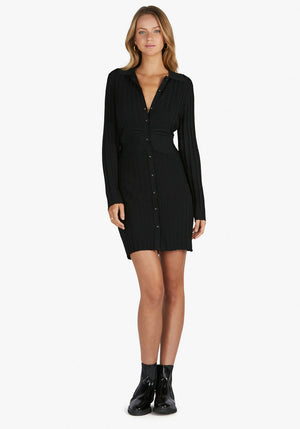 Sami Knit Polo Dress Black